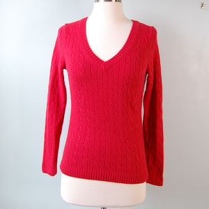 {LOFT} Red Cable Knit V-Neck Sweater Size Small